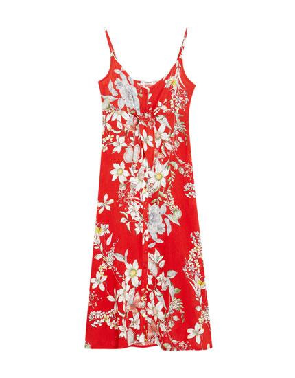 Μίντι λουλουδάτο φόρεμα