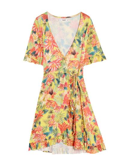 Tropical wrap dress