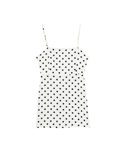 Polka dot dress with straight-cut neckline