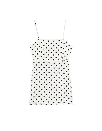 Polka dot dress with straight-cut neckline