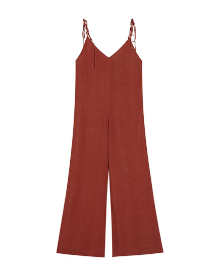 Long jumpsuit with tied straps
