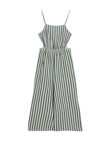 Striped culotte jumpsuit with vents