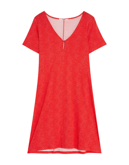 Short sleeve dress with button
