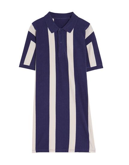 Striped polo neck dress