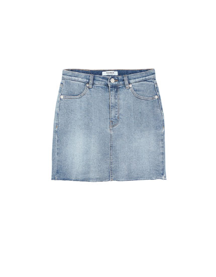 Stretch denim skirt