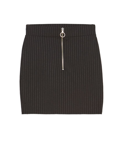 Pinstriped mini skirt with zip