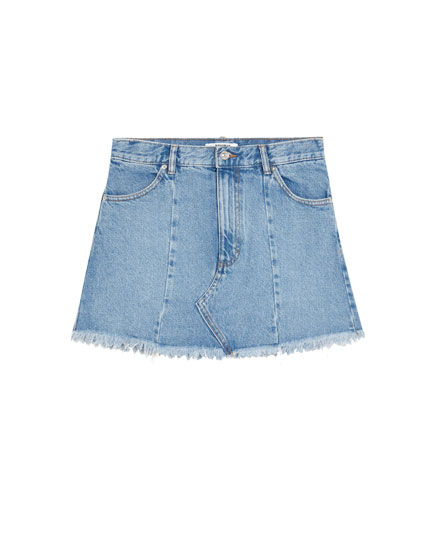Denim skirt with seam details