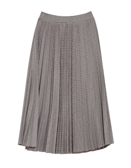 Pleated jacquard skirt
