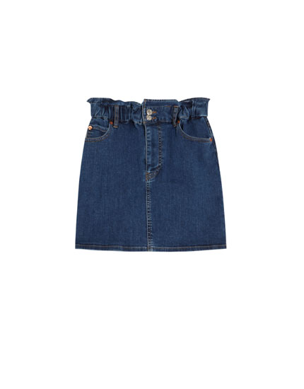 Denim paper bag mini skirt