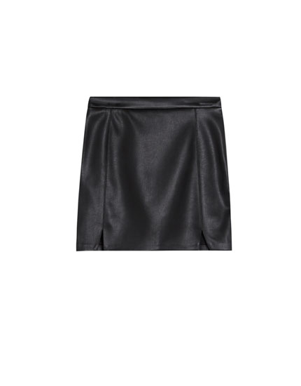 Faux leather mini skirt with slits