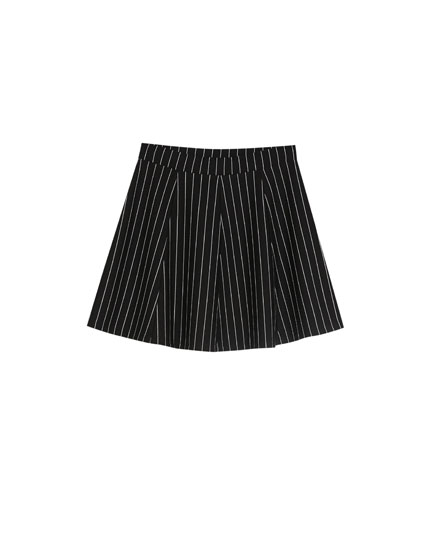 Striped college-style skirt
