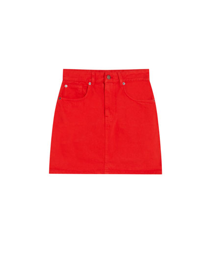Tailored red denim skirt