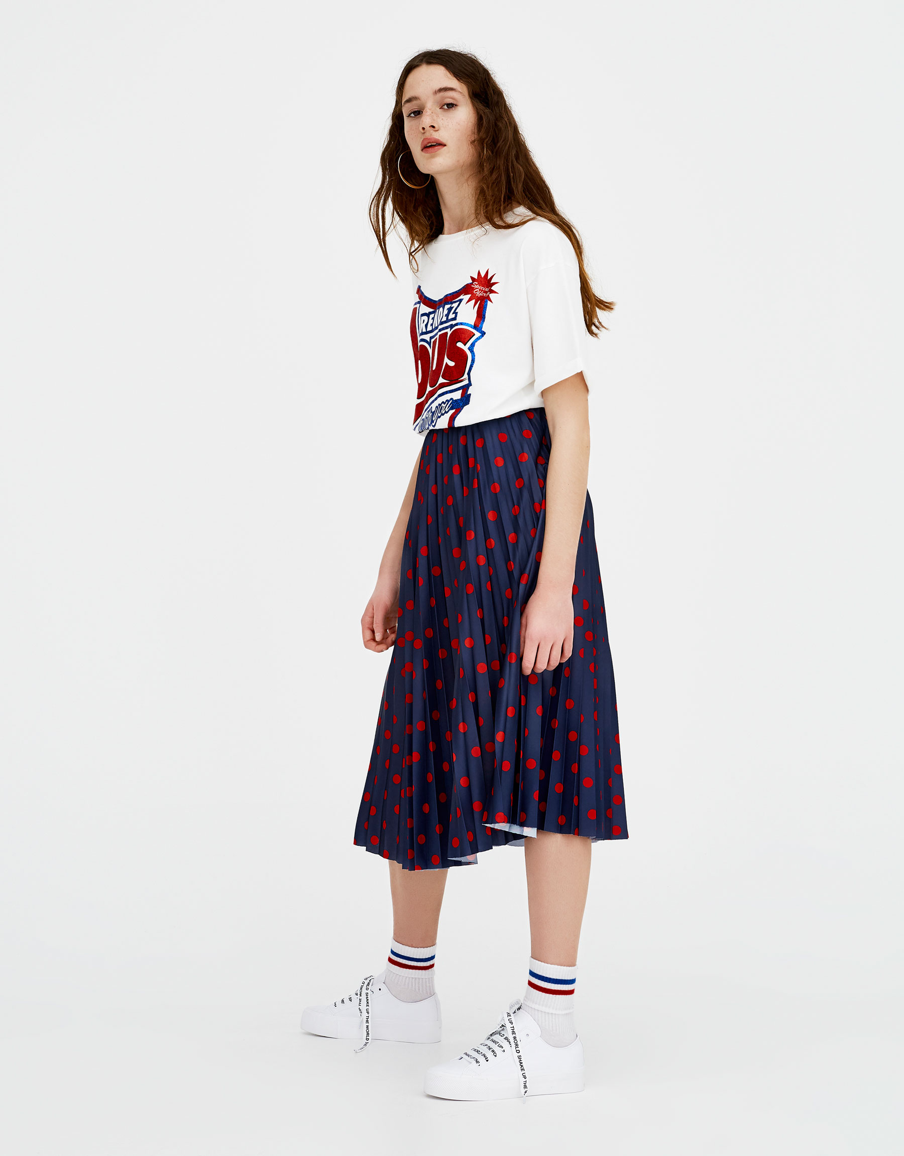 94cd6951d9 Pull & Bear Pleated skirt with polka dot print at £19.99   love the ...