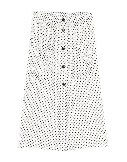 Midi-nederdel med prikker