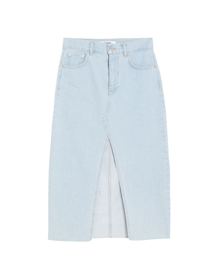 Denim midi skirt with slit