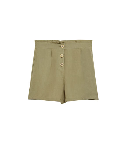 Paperbag Bermuda shorts with buttons