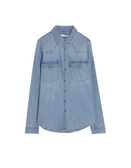 Loose fit denim shirt