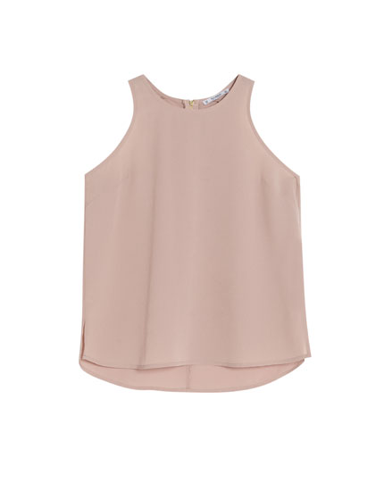Sleeveless top with zip