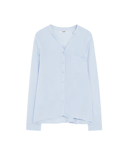 Mandarin collar basic shirt