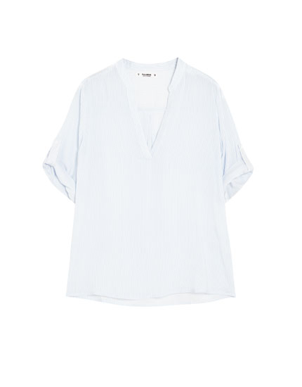 Basic stand-up collar shirt