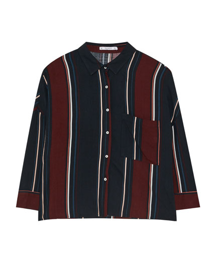 Chemise rayures manches 3/4