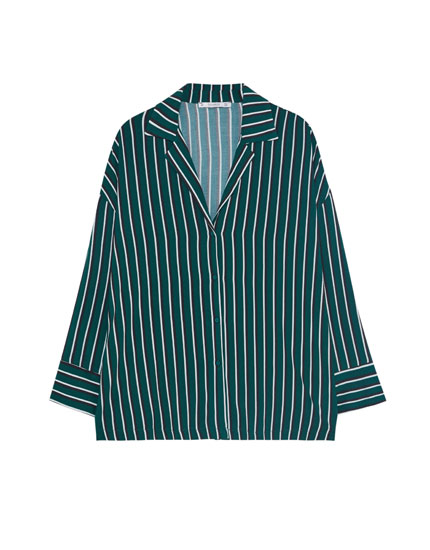 Striped shirt with lapel collar