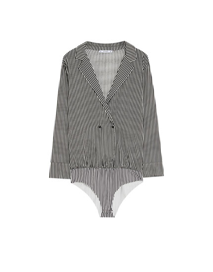 Striped bodysuit with lapel collar