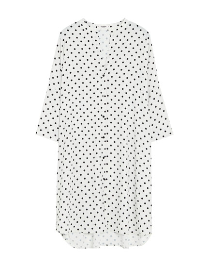 Shirt dress with stand-up collar