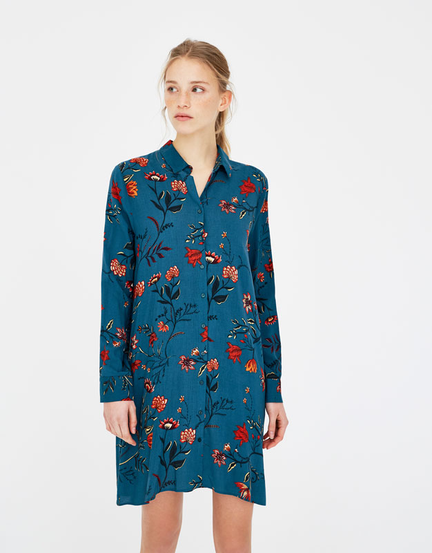 Printed Shirt Dress by Pull & Bear