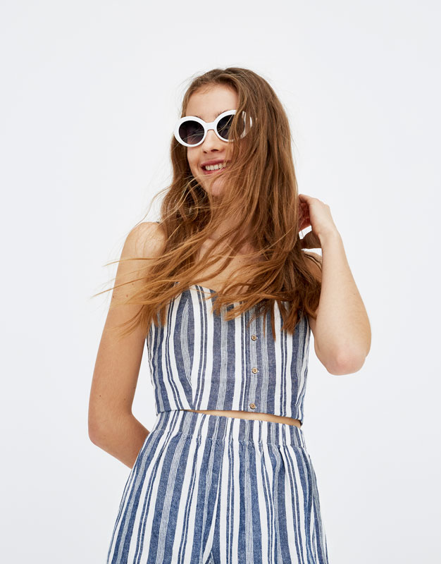 Striped top with wooden buttons