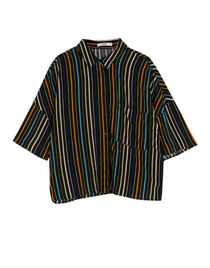 Chemise courte à rayures manches courtes