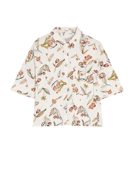 Printed short sleeve cropped shirt