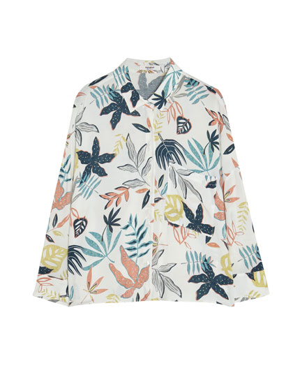 Short sleeve shirt with branch print