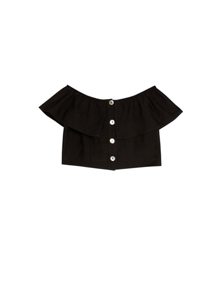 Top with ruffle and buttons