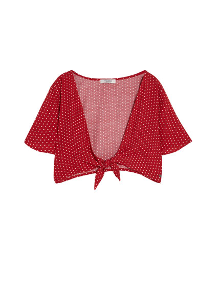 Knotted polka dot top