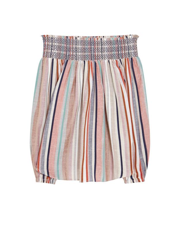 blusa de rayas de lino Pull and Bear rebajas verano