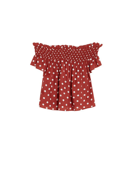 Top pois encolure Bardot
