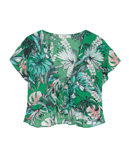 Knotted tropical print top
