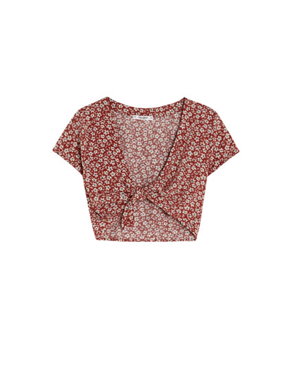 Short sleeve floral top with knot