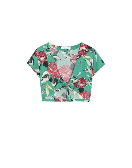 Tied short sleeve floral print top