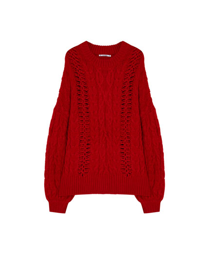 Cable-knit sweater with openwork detail