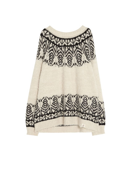 Sweater i jacquard med pyntekanter