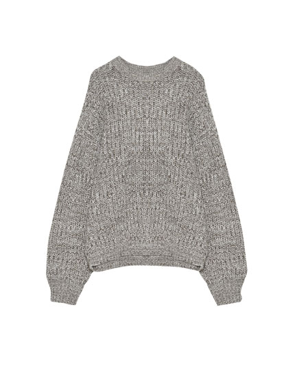 Batwing sleeve boyfriend sweater