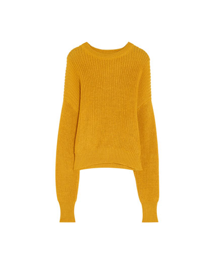 Cropped sweater i perlestrikning