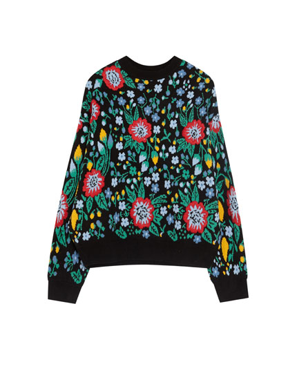 Jacquard sweater with embroidered flowers