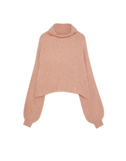 Oversize-Pullover mit weitem Rollkragen