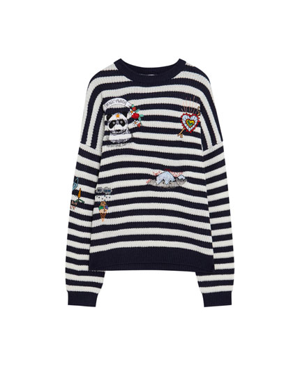 Striped sweater with graphic embroidery