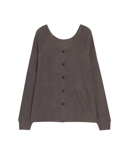 Double position sweater with buttons