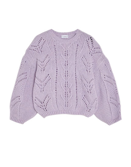 Open knit sweater with puff sleeves