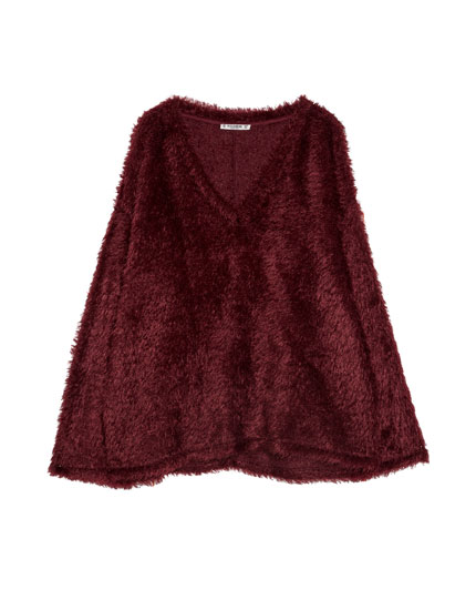 Faux fur V-neck sweater